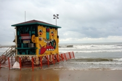 Livräddartorn på stranden i centrala Tel Aviv.