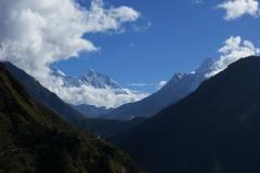 Utsikt över Lhotse-massivet längs EBC-trekken mellan Namche Bazaar och Tengboche.