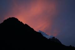 Utsikten från Tengboche väst om Everest vid solnedgång.