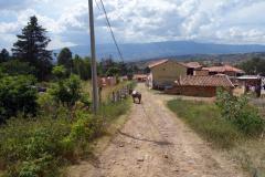 Vid entrén till Hostal Renacer, Villa de Leyva.