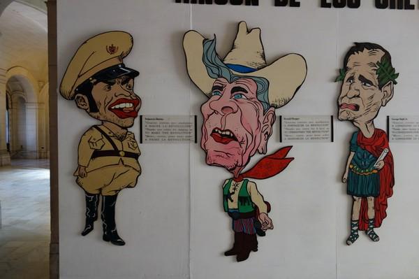 Häckel av Batista och far och son Bush, Museo de la Revolución, Habana Vieja, Havanna.