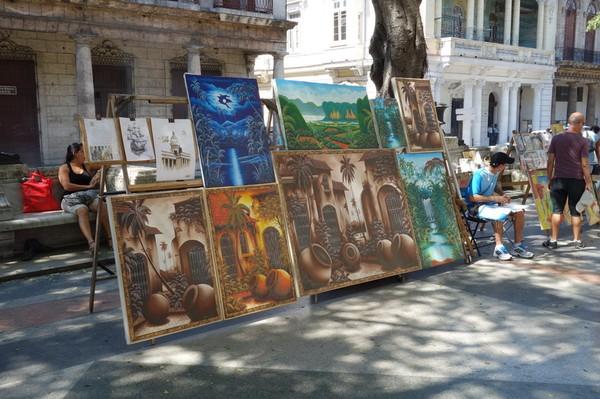 Konst längs Pradon, Centro Habana, Havanna.