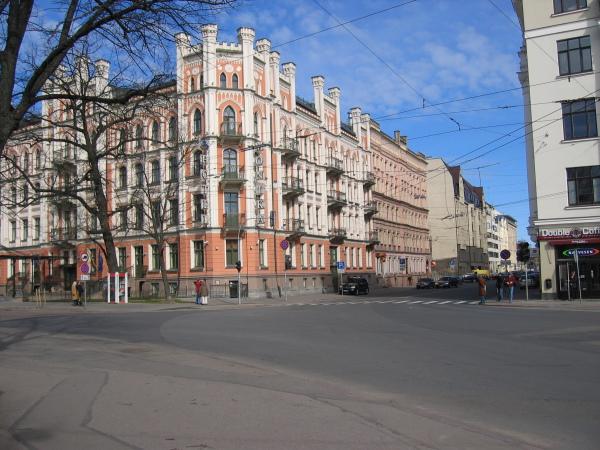 Gatan där Domina Inn (hotellet jag bor på) ligger, Riga.