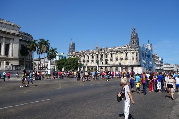 Gatuscen vid Capitolio Nacional, Centro Habana, Havanna.
