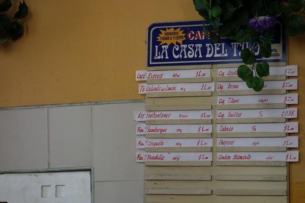 Menyn på den lokala puben i stadsdelen Regla, Havanna.