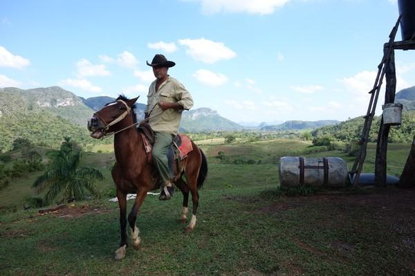 Detta är nog min favoritbild. Perfekt fångat ögonblick när cowboyen svänger runt hästen med Valle de Palmarito i bakgrunden, Valle de Viñales.