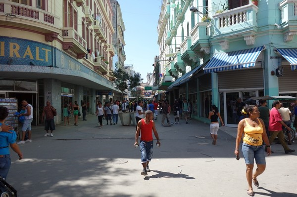 Gågatan Calle San Rafael, Centro Habana, Havanna.