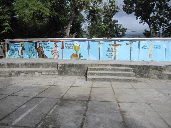 Målningar vid The Church of San Antonio de Motael i centrala Dili. Den äldsta kyrkan i Timor-Leste.