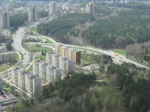 Uppe på observation deck på 190 meters höjd i Vilnius TV Tower, Vilnius.