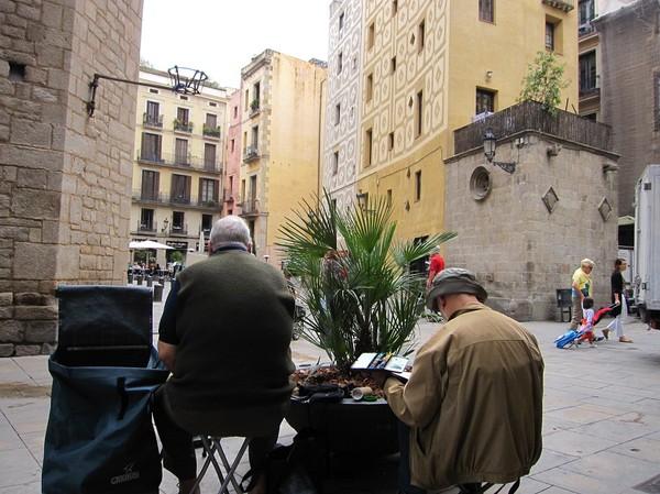 Konstnärer i arbete, La Ribera, Barcelona.