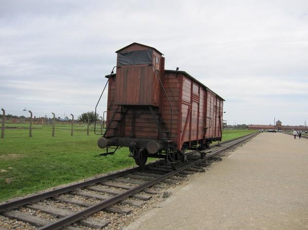 En av de vagnar som transporterade fångar till Birkenau i originalskick.
