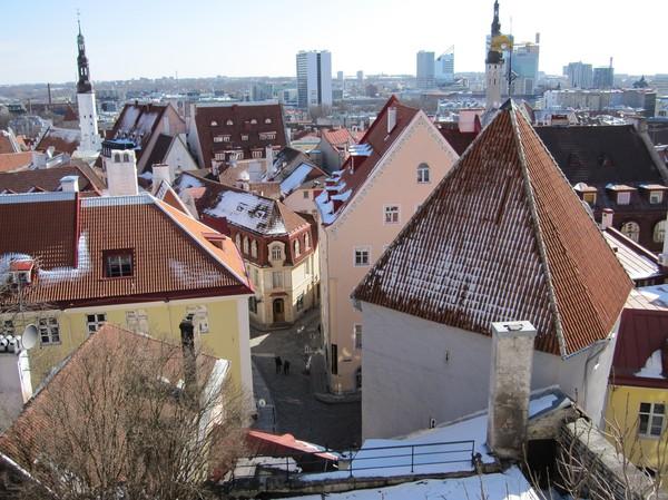 Utsikt från Toompea (domberget), gamla staden i Tallinn.
