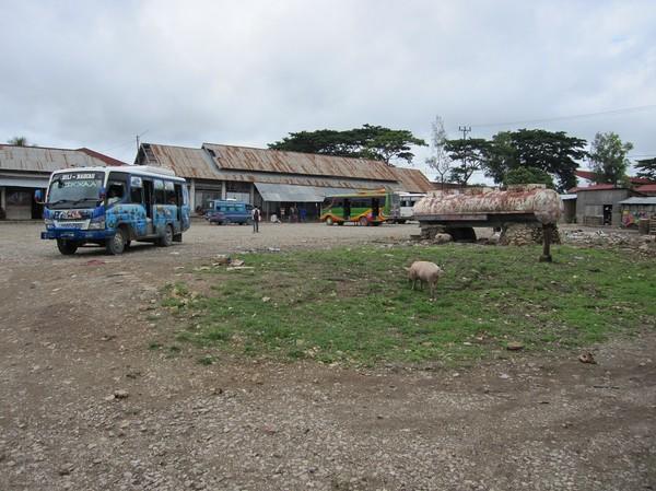 Busstationen i Baucau new town, Timor-Leste.