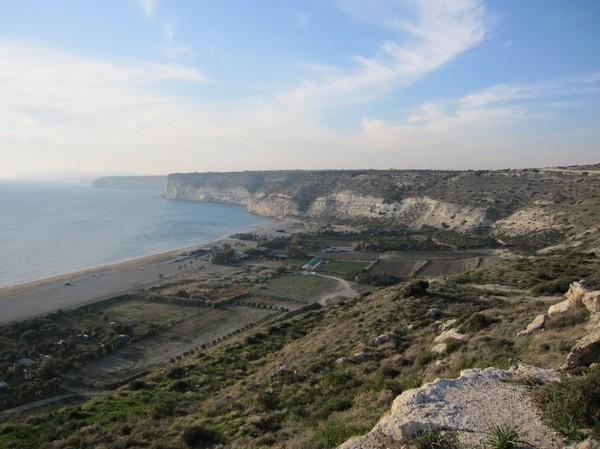 Utsikt uppifrån antika Kourion, Cyperns sydkust.