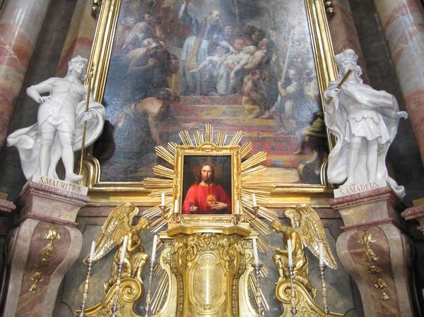 Målning inuti Peterskirche, Wien.