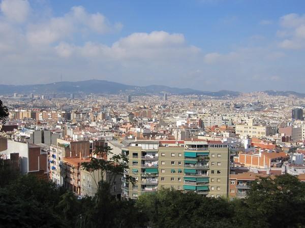Linbanan till Montjuïc från Barceloneta, Barcelona.
