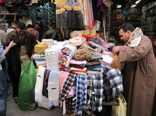 Klädaffär i islamic Cairo, Kairo.