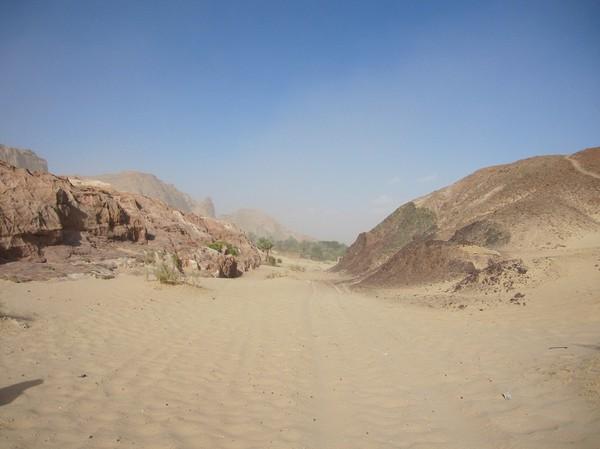 Oasen börjar närma sig. Det var ganska tungt att gå i sanden och den kraftiga motvinden. Dessutom hade jag vid det här laget sand överallt, till och med i munnen!