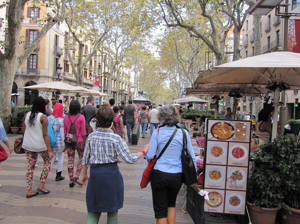 Den berömda gågatan La Rambla, Barcelona.