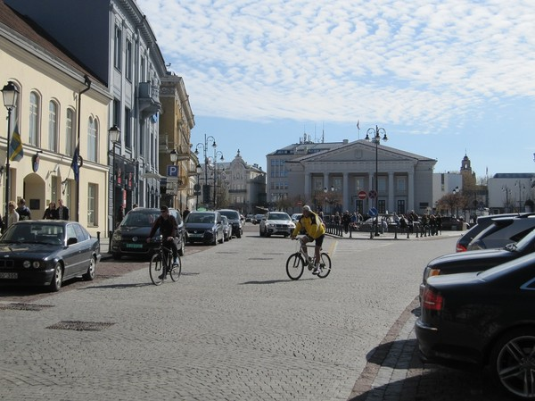 Vilnius stadshus i bakgrunden, gamla staden Vilnius.