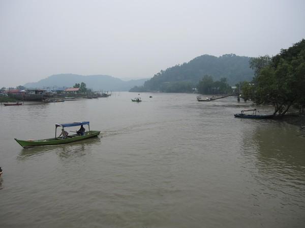 Floden som leder ut till havet och Bako National Park.