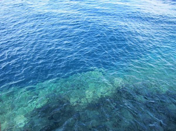 Ett försök att ta en bild på den drop-off som är alldeles utanför strandkanten på Panagsama beach. Man behöver inte vara dykare för att fatta att detta innebär intressant dykning!