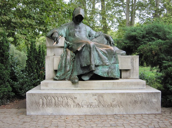 Anonymous monk statue, Budapest city park.