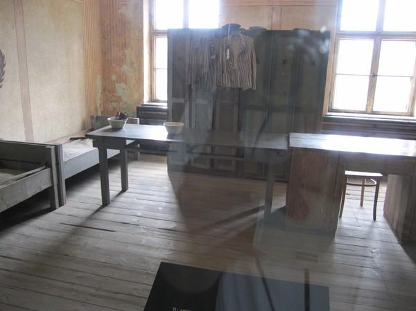 Ett av rummen i ett av blocken där fångarna förvarades.