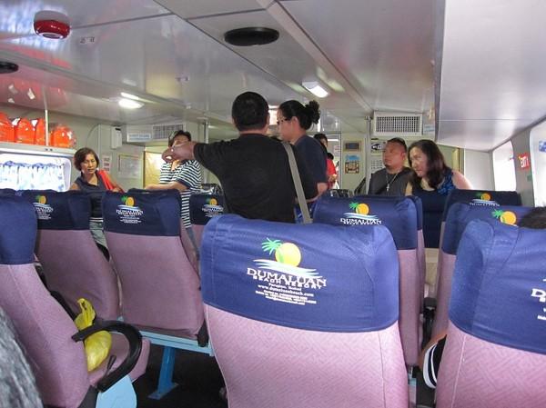 Förstaklassavdelningen på båten. Båtresan mellan Ormoc city och Cebu city.