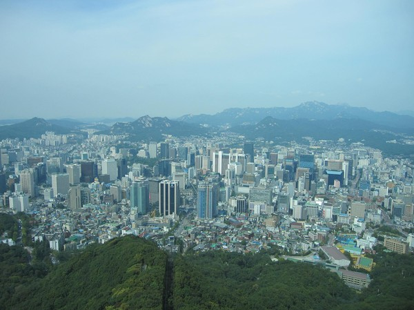 Vy från N Seoul Tower.