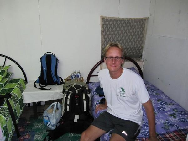 Mitt rum i långhuset. Rummen är väldigt små och det är kollektiv dusch och toalett som gäller.