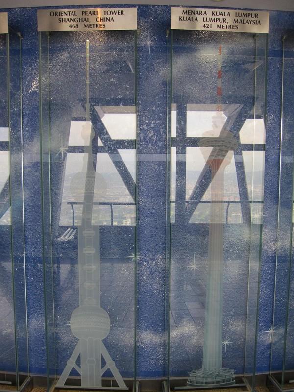 Uppe på observation deck har de en hel radda med telekomtorn ordnade efter höjd. Detta torn är världens fjärde högsta telekomtorn.