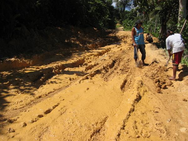 Bara att hugga i och hjälpa till att laga vägen mellan San Jose och Port Barton, Palawan.