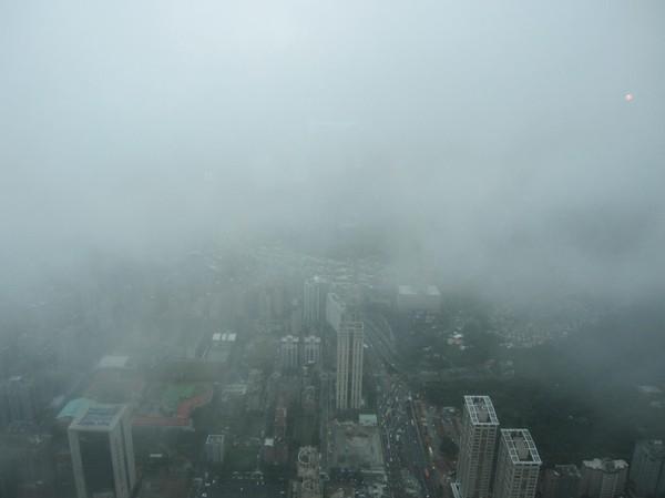 Vy uppifrån 89:e våningen, Taipei 101.
