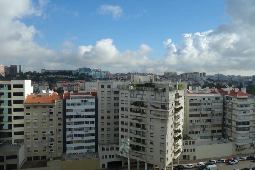 Utsikten från mitt rum på Sana Malhoa Hotel, Lissabon.