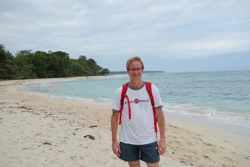 Stefan på norra sidan av vackra Cayo Zapatilla I, Bocas del Toro.
