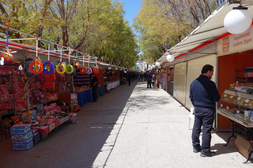 Marknadsstånd i nationalparken, Aten.