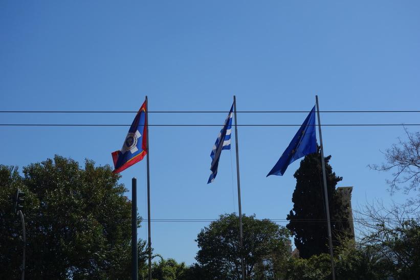 Atens flagga, Greklands flagga och EU-flaggan, Aten.