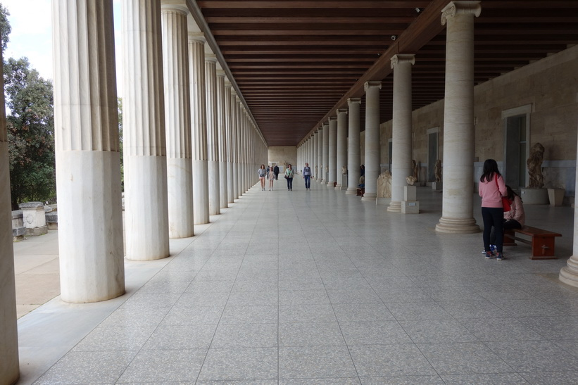 Attalos stoa. Byggnaden återuppfördes 1956 av American school of archaeology, antika Agoran, Aten.