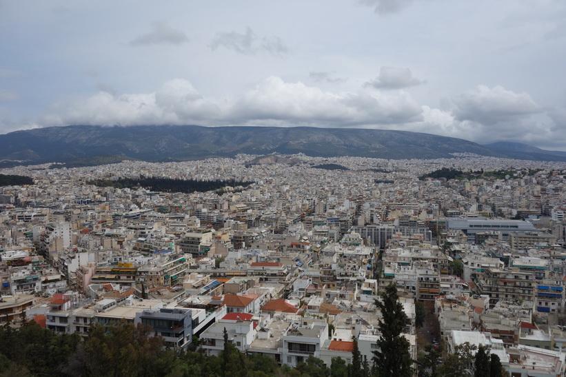 Utsikt över Aten från Filopápposkullen.