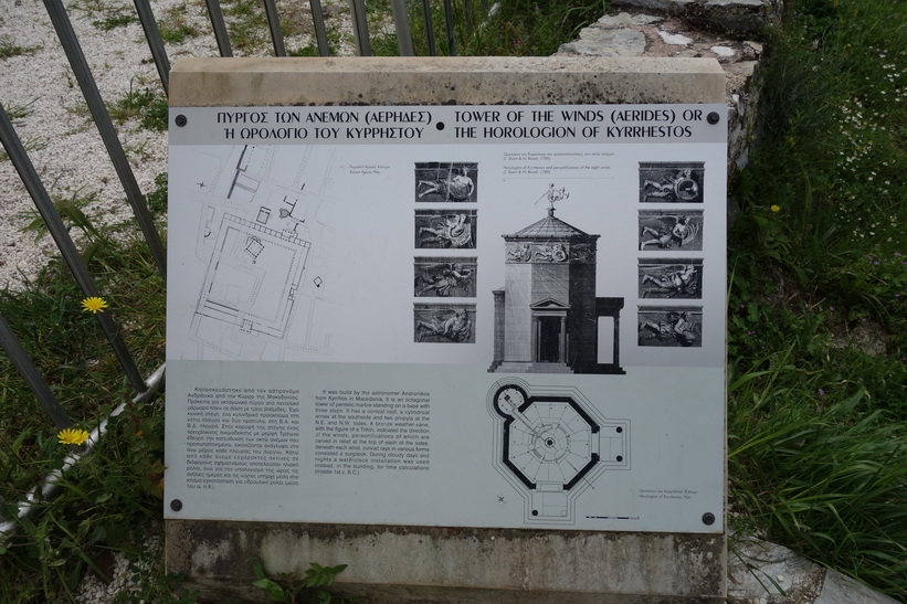 Informationsskylt som beskriver vindarnas torn, romerska Agoran, Aten.