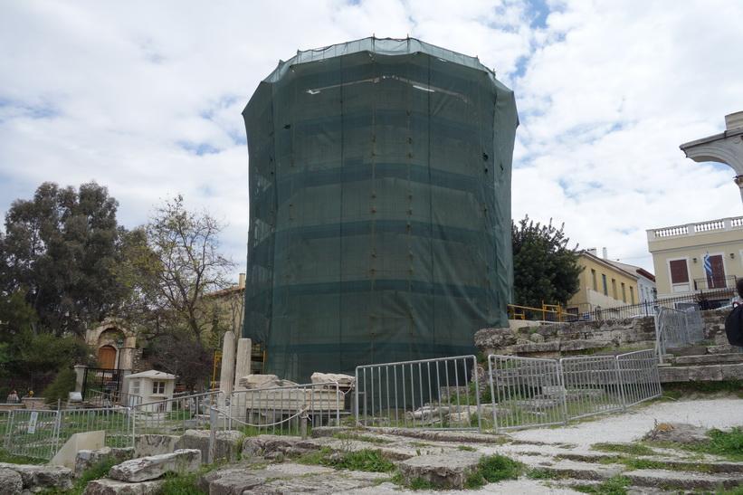 Restaurering av vindarnas torn, romerska Agoran, Aten.