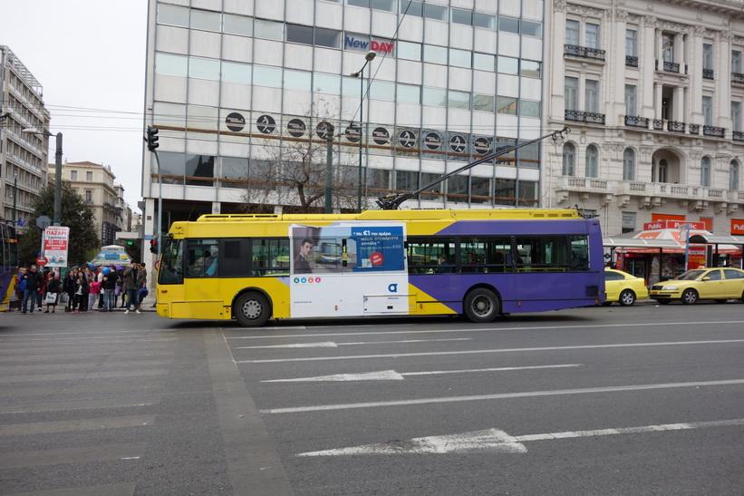 Trådbuss vid Syntagmatorget, Aten.