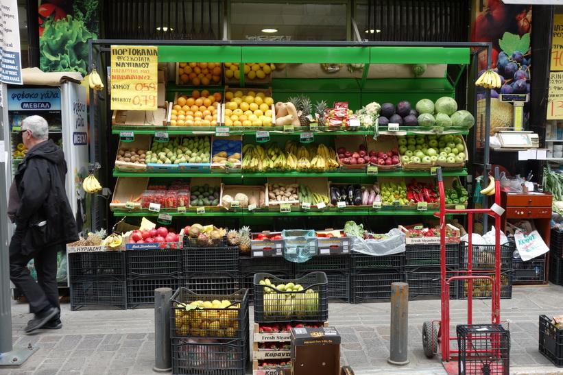Fruktförsäljning i centrala Aten.
