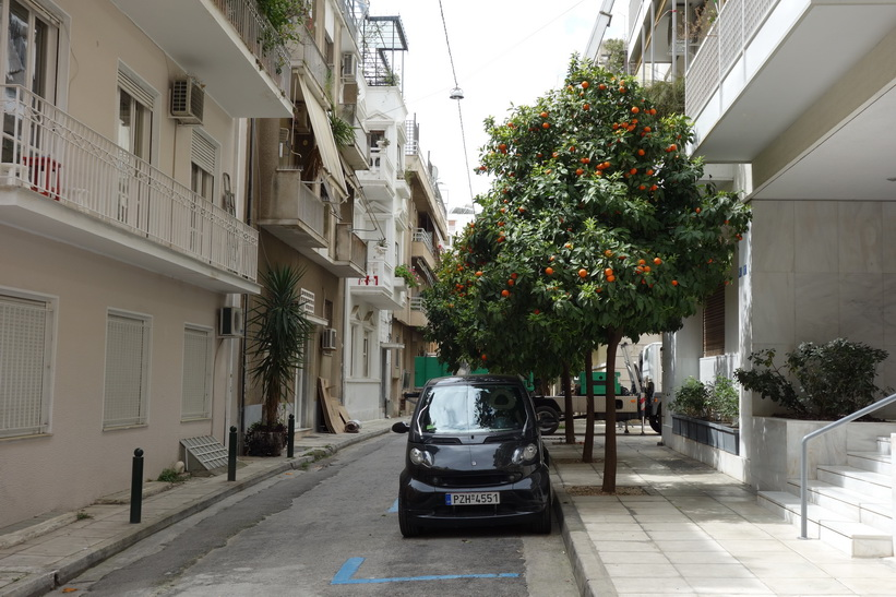 Fina smågator med apelsinträd, på väg upp till Lykavittóskullen, Aten.