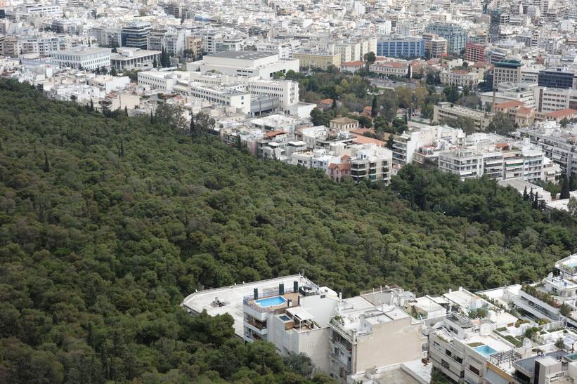 Utsikt från Lykavittóskullen, Aten.