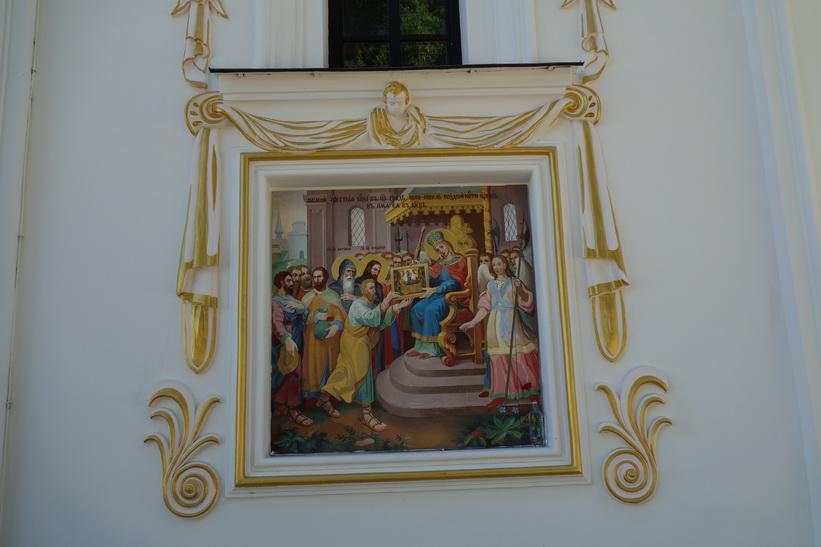 Detaljer på den rekonstruerade Marie avsomnandes katedral, Kievo-Petjerskaja lavra, Kyiv.