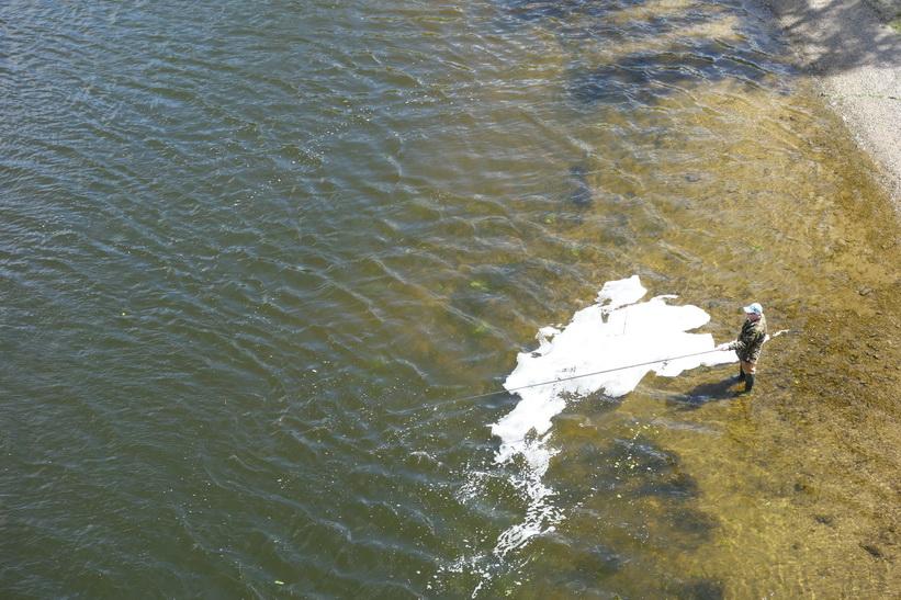 Fiske i floden Dnepr, Hydropark, Kyiv.