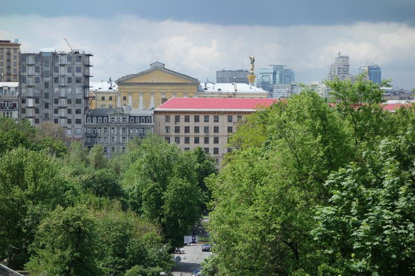 Utsikt från djävulsbron i riktning mot Maidan-torget, Kyiv.