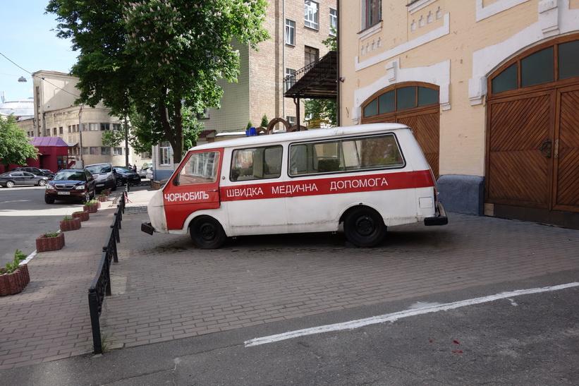 Fordon som användes i räddningsaktionen efter att katastrofen var ett faktum, Tjernobyl-museet, Kyiv.